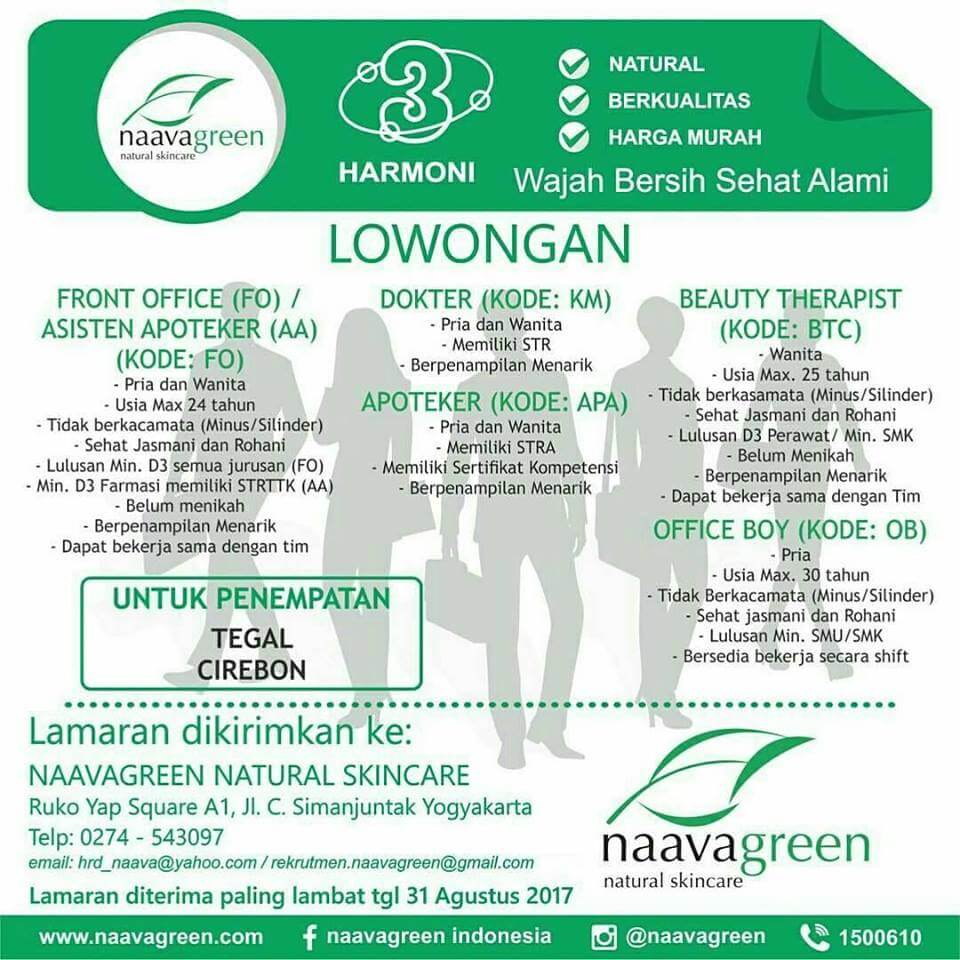Lowongan Kerja Naavagreen Natural Skincare Cirebon