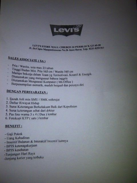 Lowongan kerja Cirebon SPG Levi's