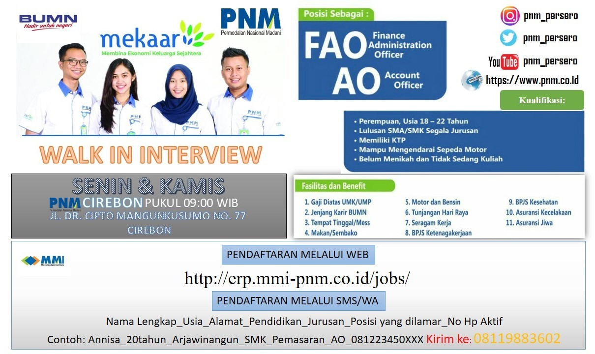 Lowongan Pegawai BUMN PT. PNM (Persero) Cirebon