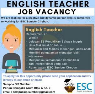 Lowongan kerja English Teacher