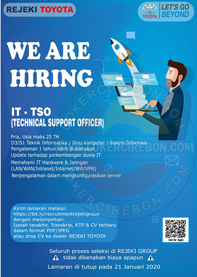 Lowongan kerja IT Technical Support Officer Rejeki Toyota