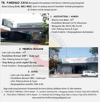 Lowongan kerja TB Farindo Jaya Januari 2020